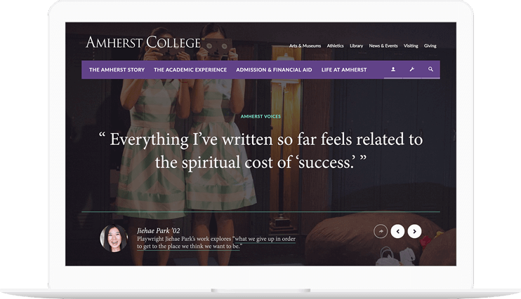 Amherst College website displayed on a computer
