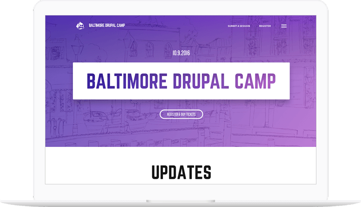 Baltimore Drupal Camp website displayed on a computer