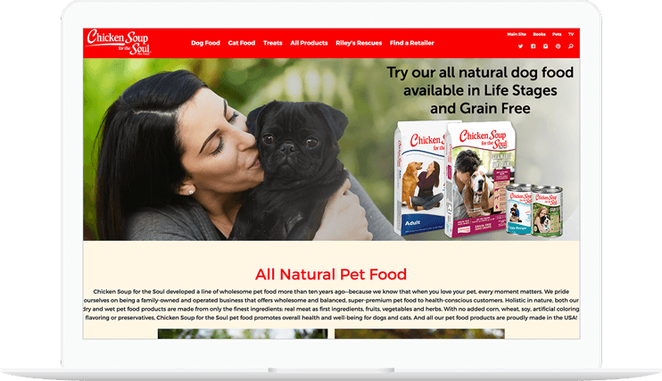 Chicken soup for the soul pets homepage displayed on a computer