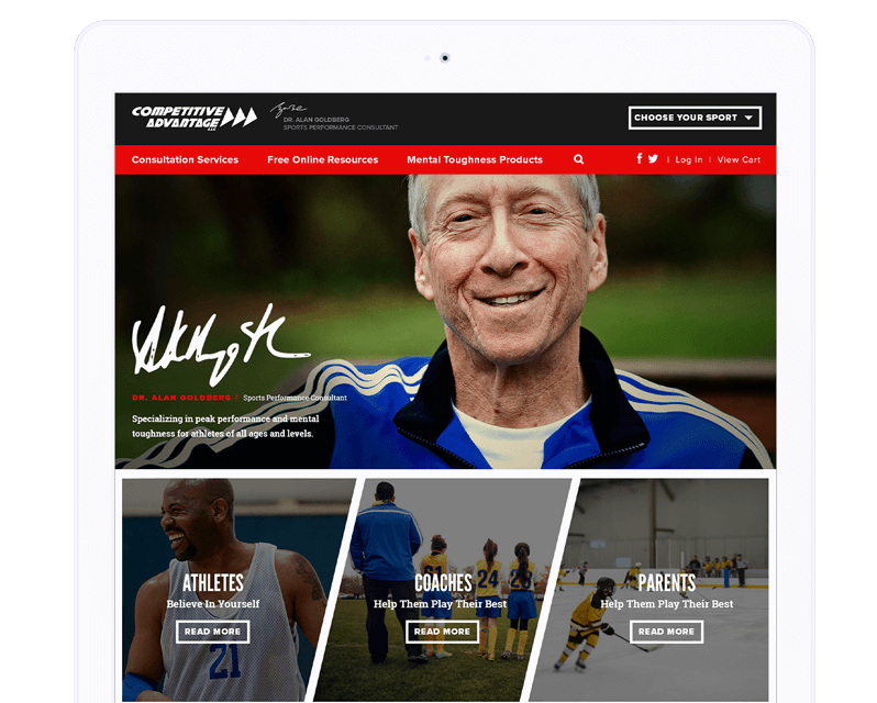 Competitive Edge website displayed on a tablet