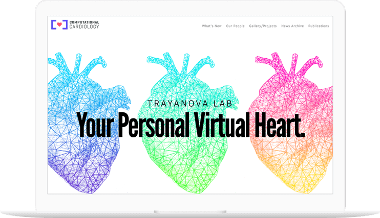 Computational Cardiology website displayed on a computer