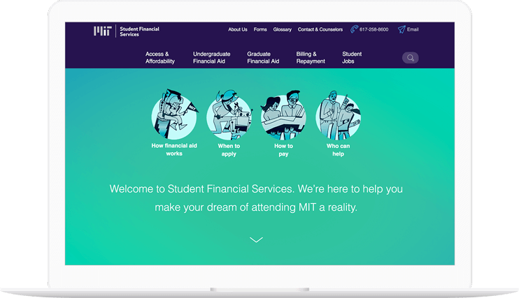 MIT Student Financial Services website displayed on a computer