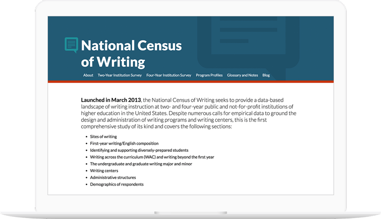 National Census of Writing website displayed on a computer