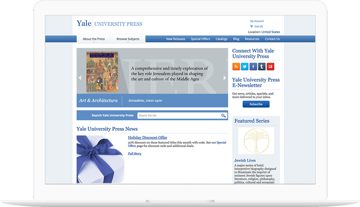 Yale University Press website displayed on a computer