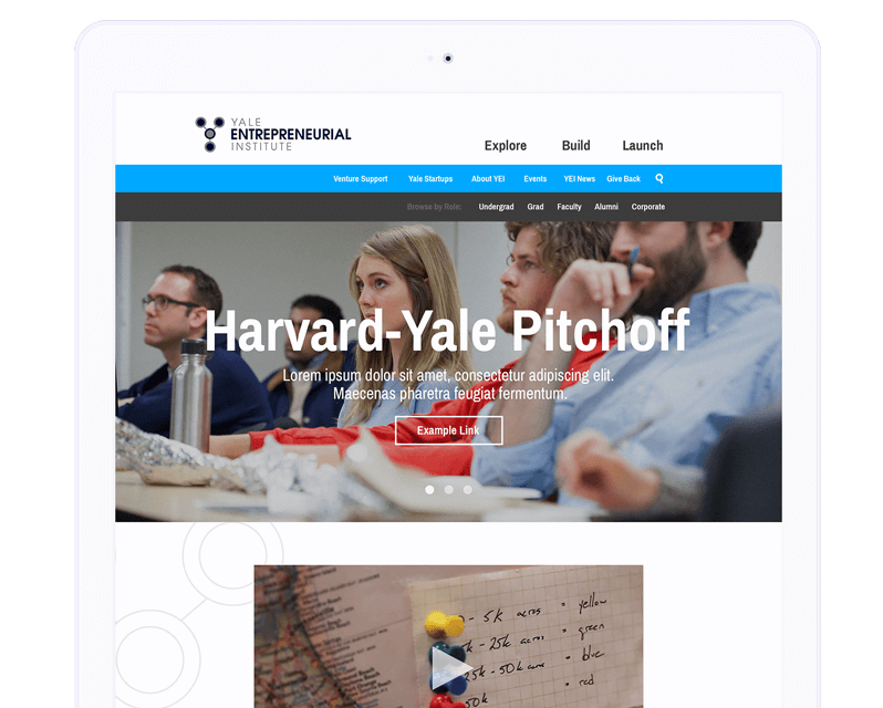Yale Entrepreneurial Institute website displayed on a tablet.
