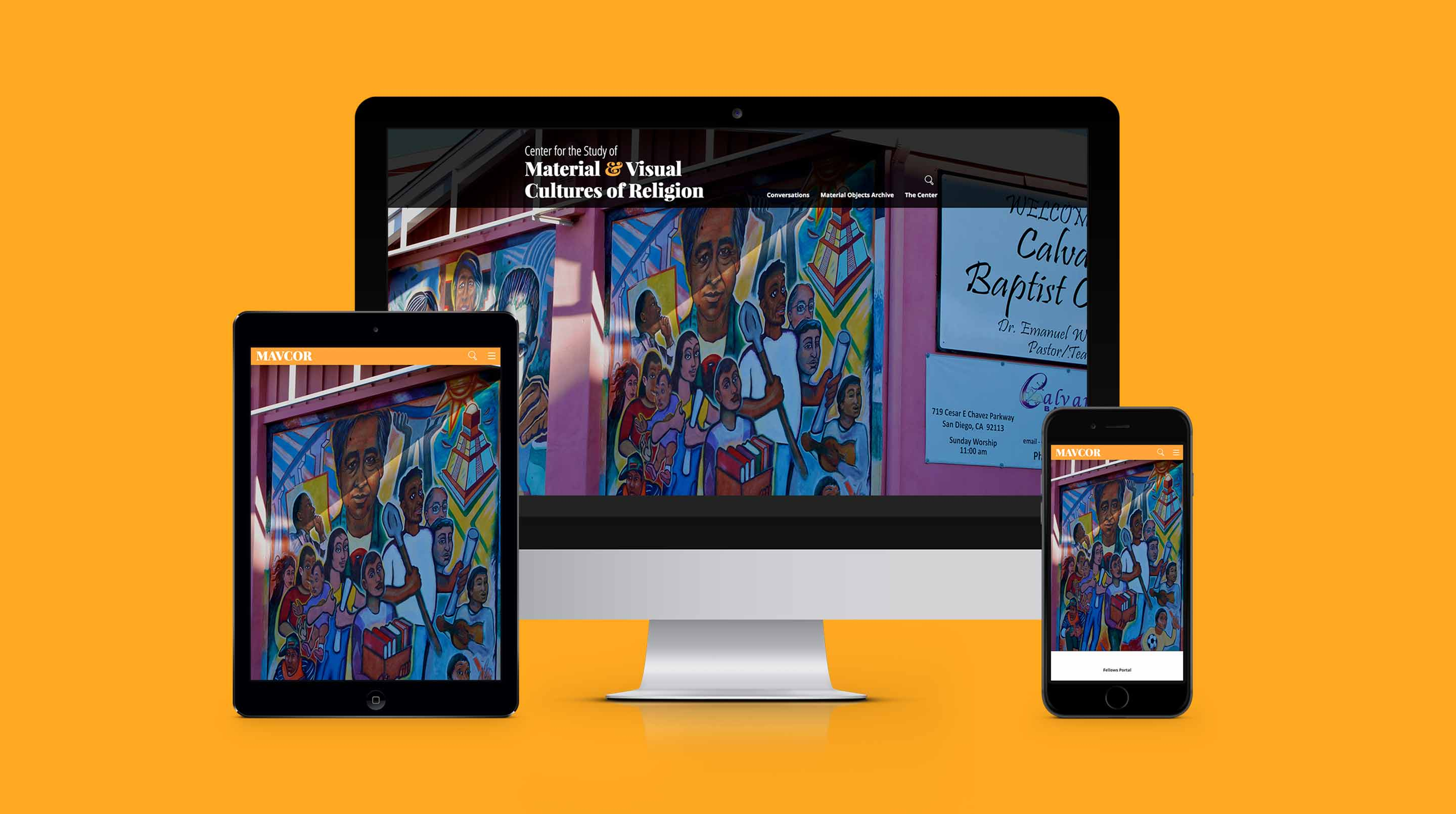 Different devices show MAVCOR's responsive homepage with an image of a mural of workers on the side of a church.