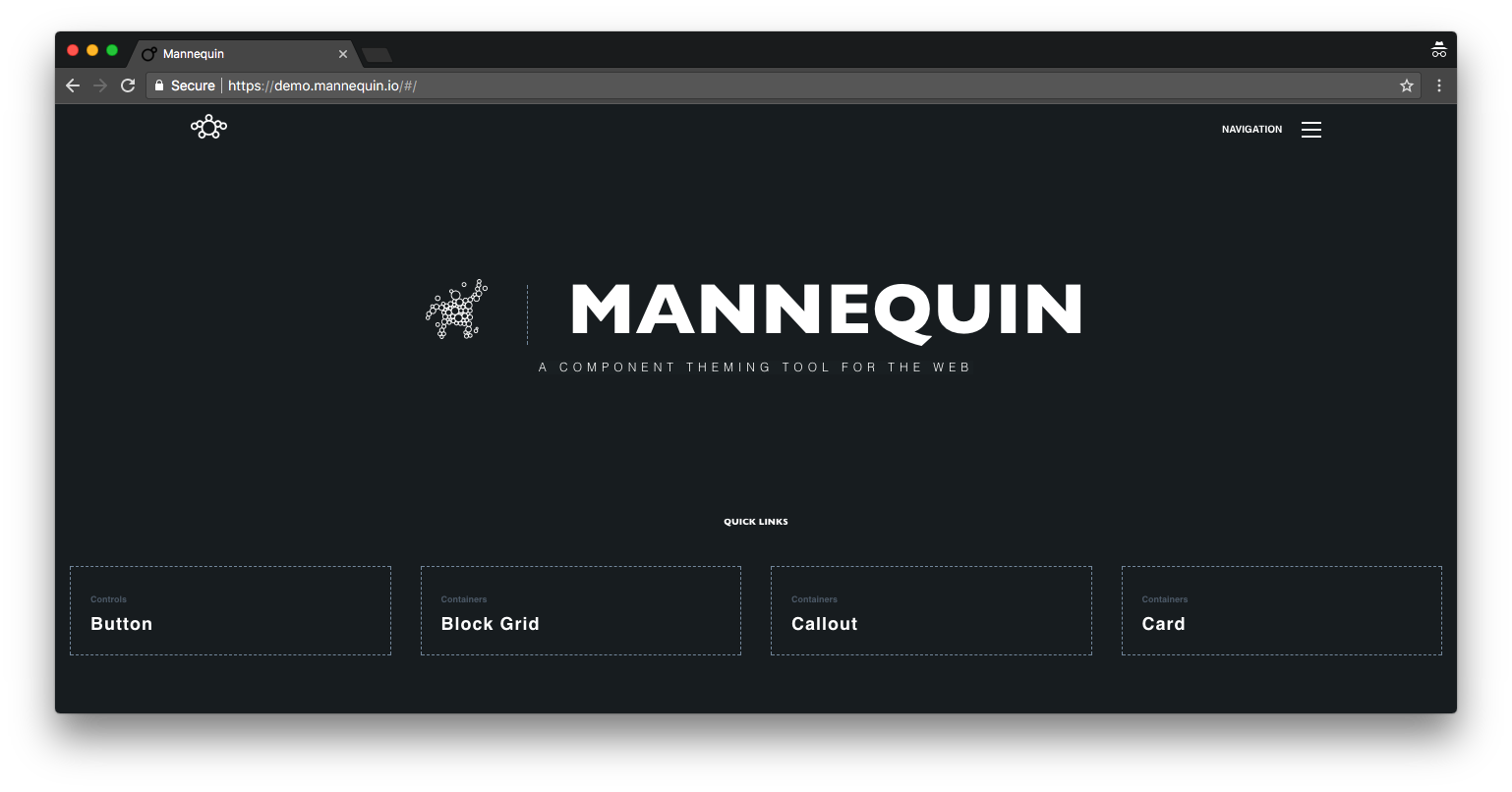 Screenshot of the Mannequin website. The mascot waves hello next to the site title and navigation.