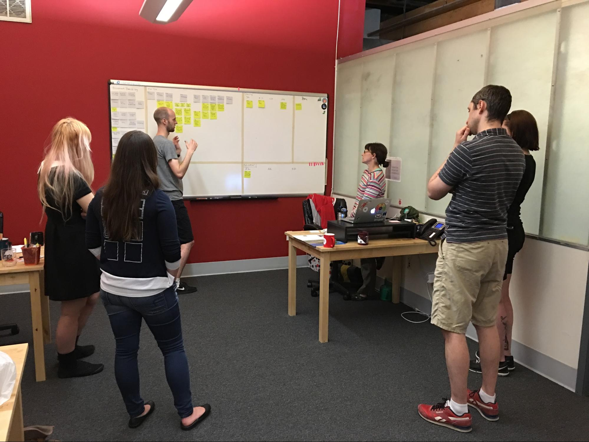 The image above shows a typical daily standup meeting from the project.