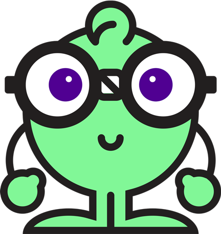 Round, green cartoon character with glasses.