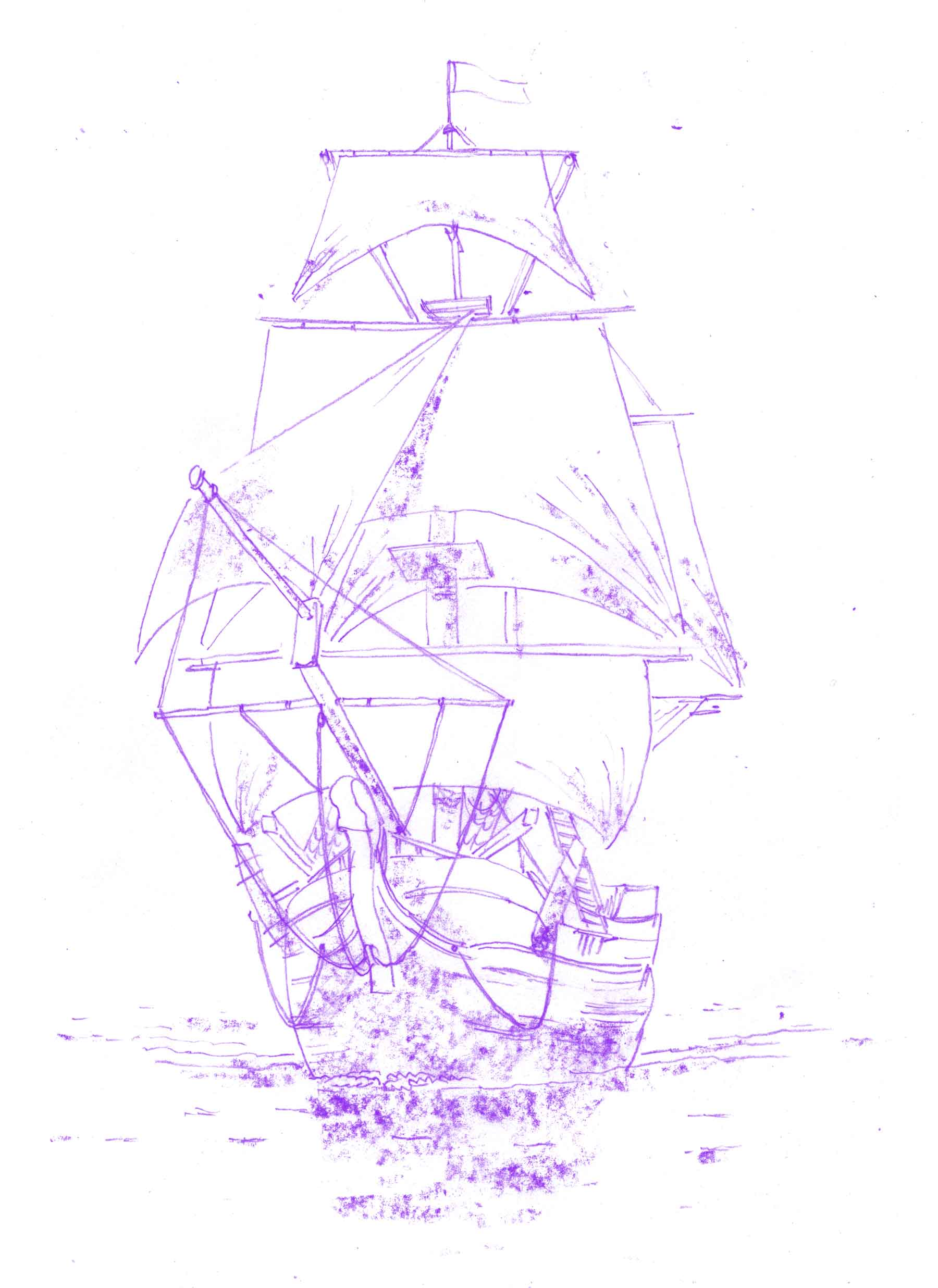 Illustration of a historic ship