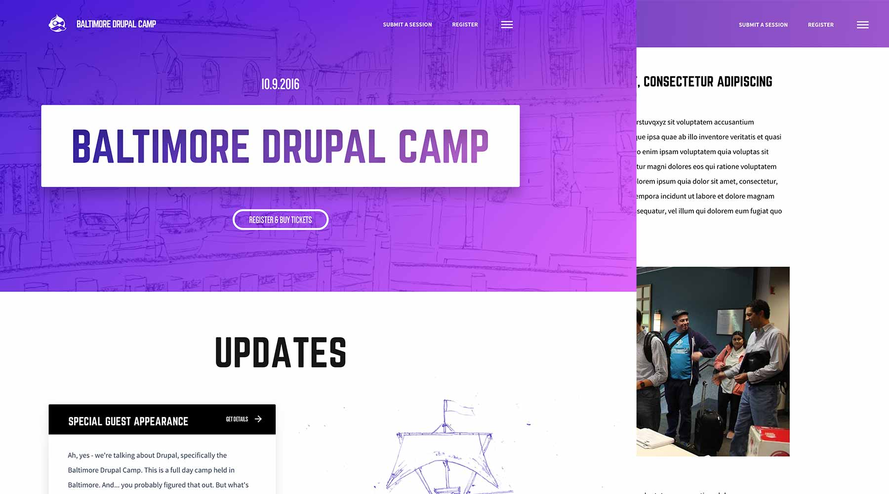 Designs for the Baltimore Drupal Camp site
