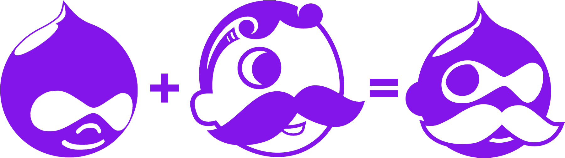 The Drupal and National Bohemian logos combining into the Drupal Boh logo