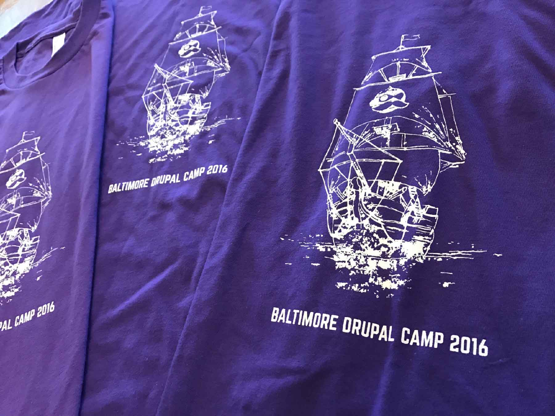 Baltimore Drupal Camp shirts with historic ship drawing