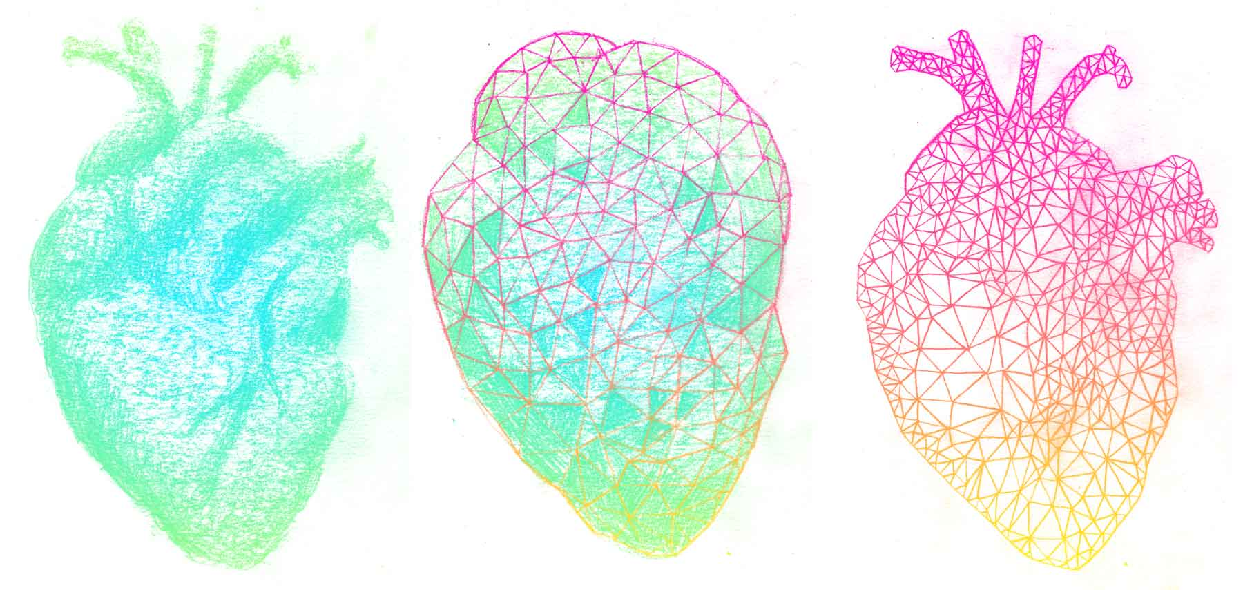 Three early iterations of the heart illustration used in the site design.
