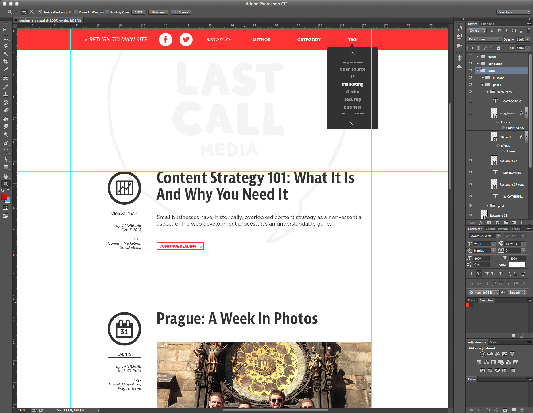 Responsive wireframes retina images and the latest web trends designing our new blog last