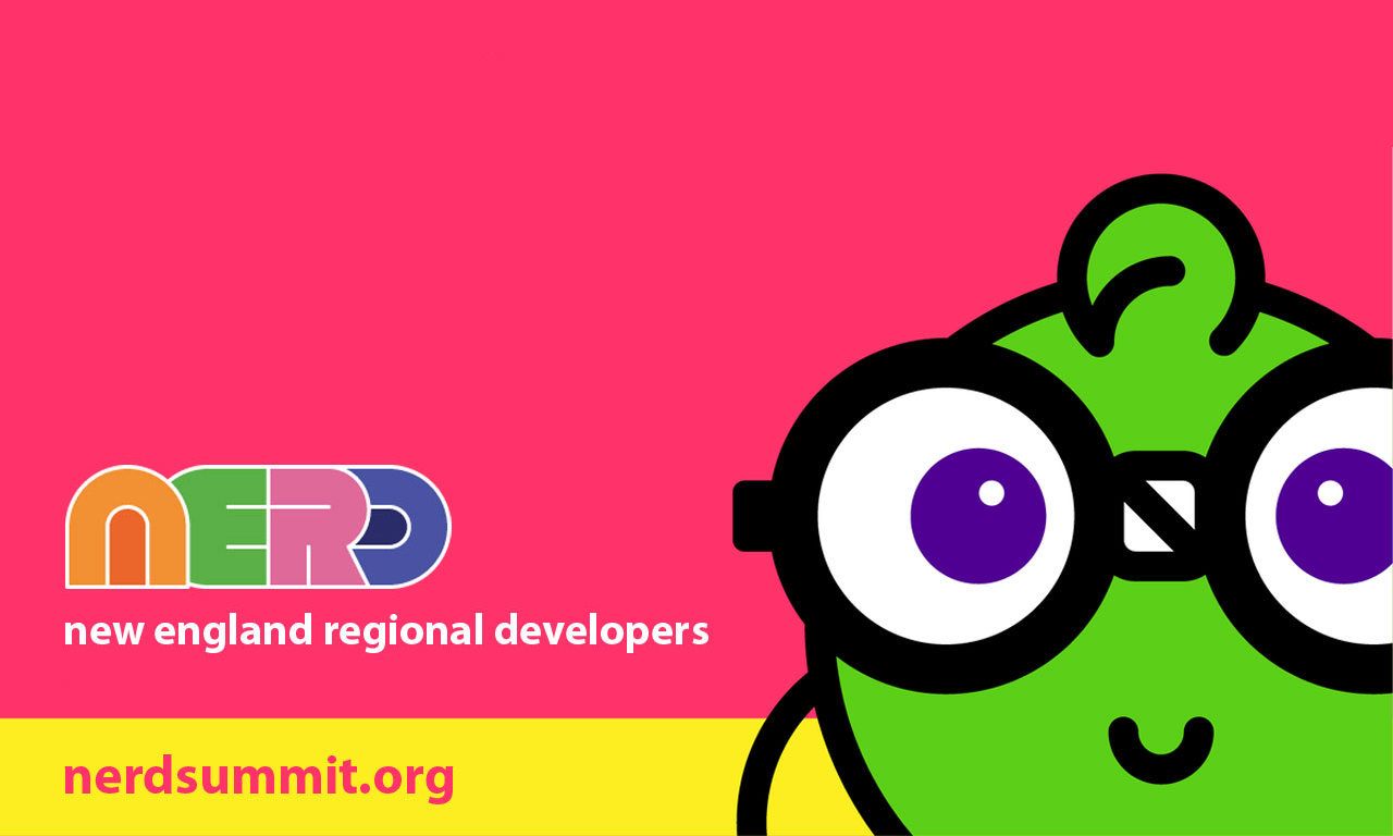 "NERD Summit 2019 logo with green ""Nerdy"" character wearing glasses"