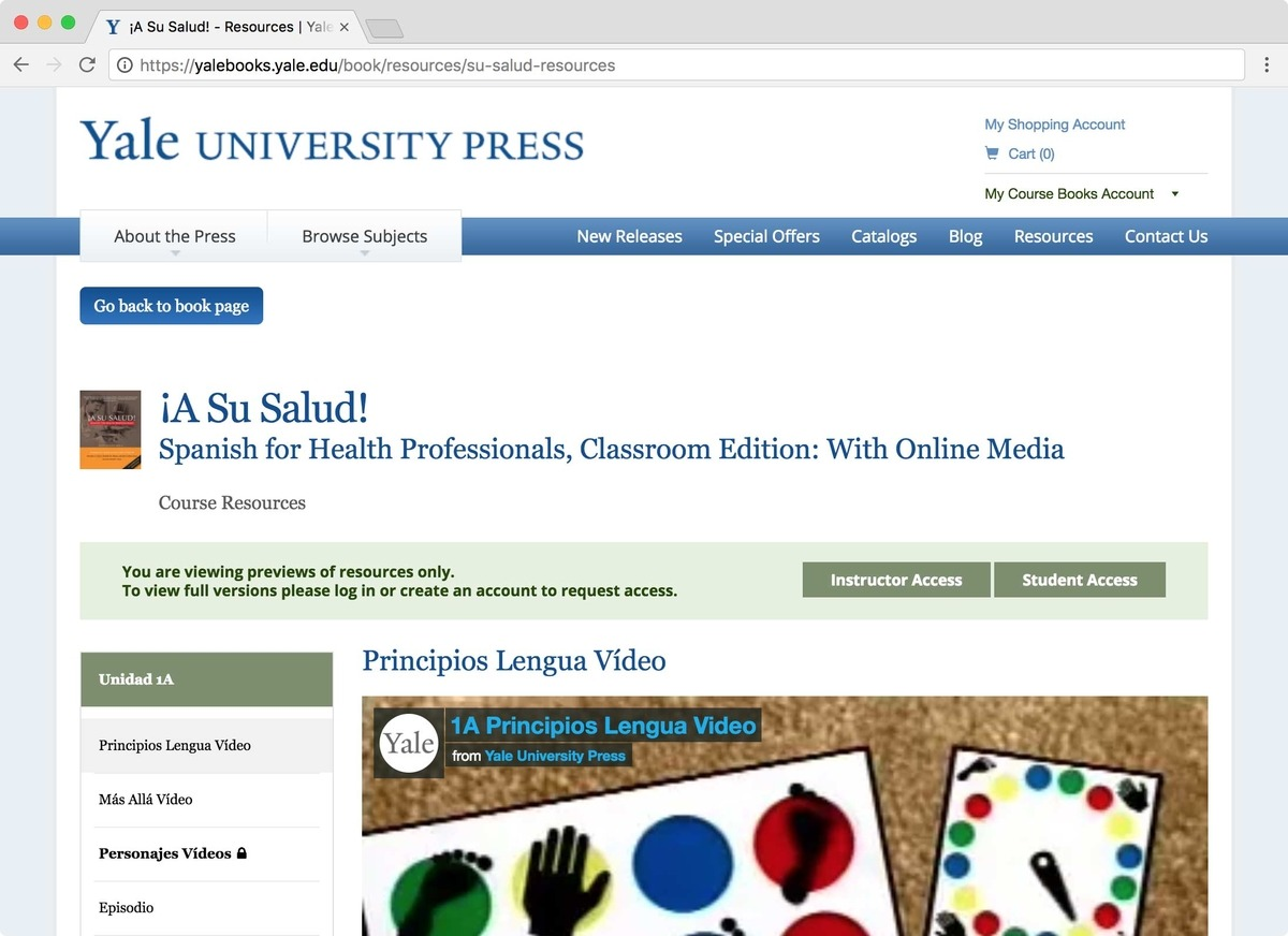 Browser window displaying Yale University Press Course Resources webpage