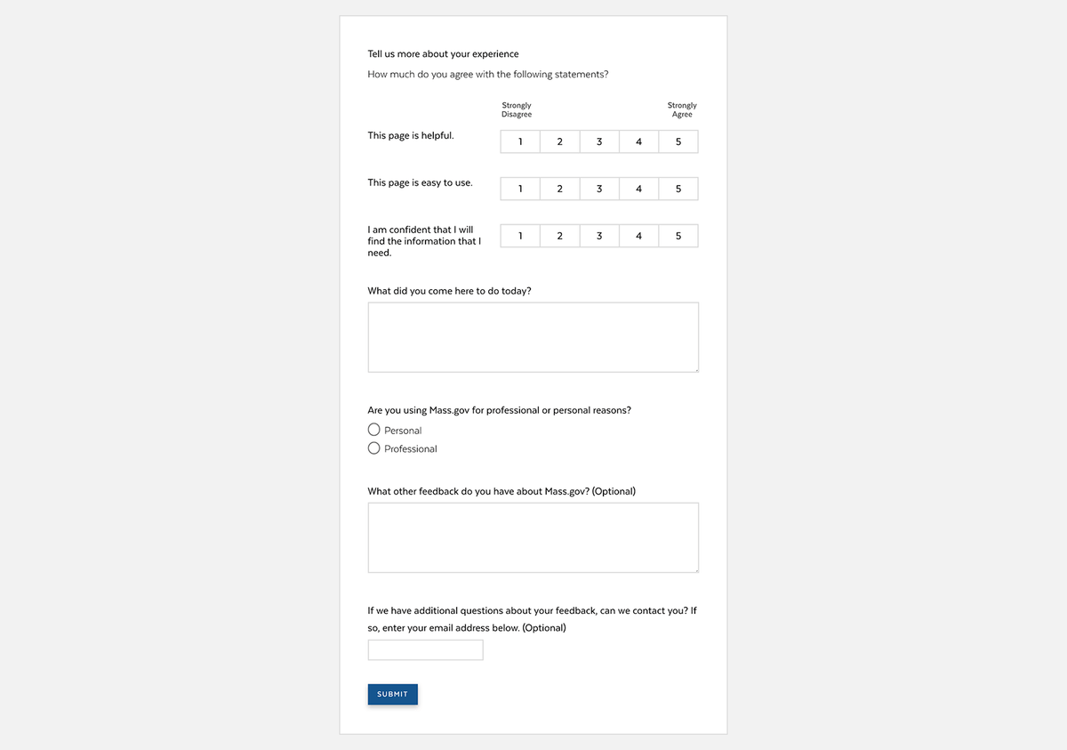Survey asking for more detailed feedback from users.