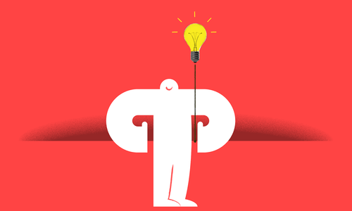 Illustration of a Yeti by a light bulb and its pull cord
