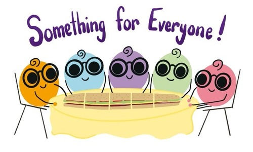 "Bunch of hand drawn lil Nerdies sitting around a table with the text ""something for everyone"" over their heads"