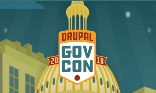 Illustrated Drupal GovCon 2018 logo featuring the top of Capitol building