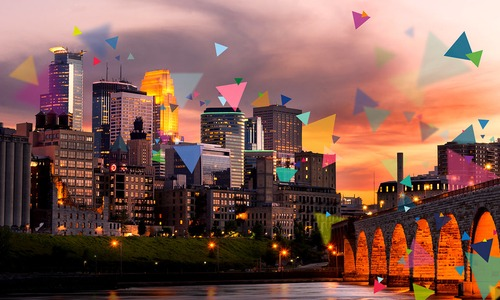 The city of Minneapolis with confetti scattered over it