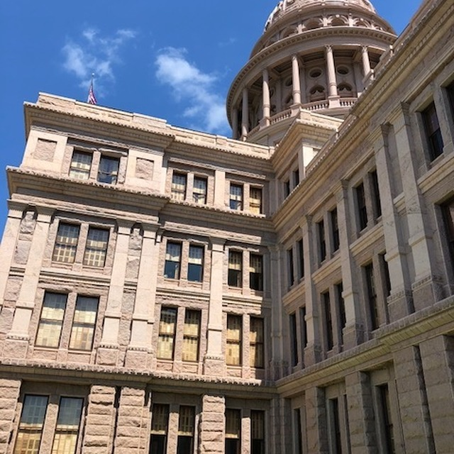 Close up of the Texas State Capitol building