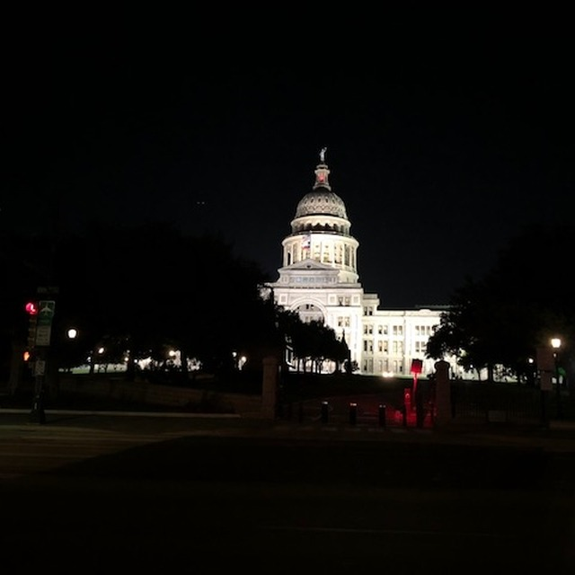 Texas State Capitol building lit up at night
