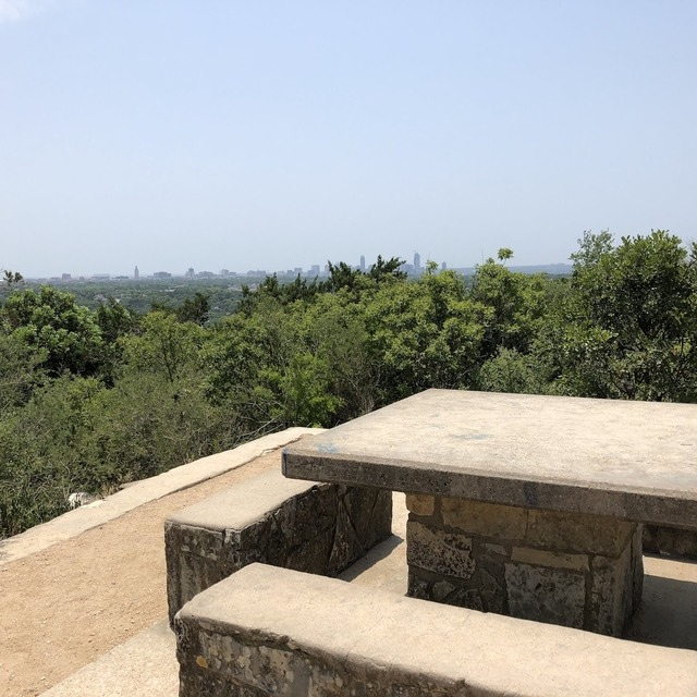 Table at Mt. Bonnell with the City of Austin in background