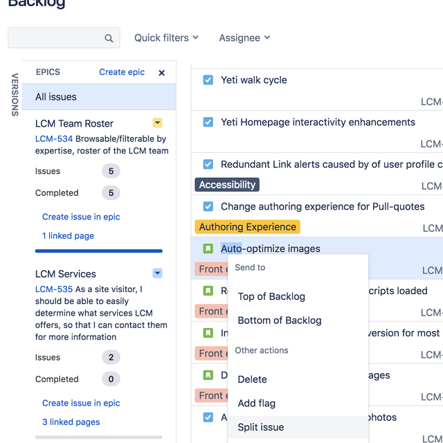 Screenshot of starting an issue split in Jira