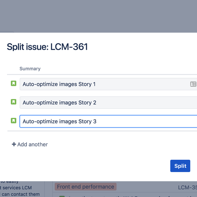 Screenshot of completing an issue split in Jira