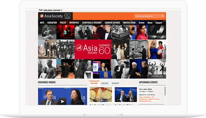 Asia Society website displayed on a computer