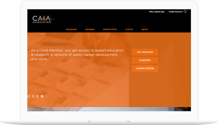 CAIA website displayed on a computer
