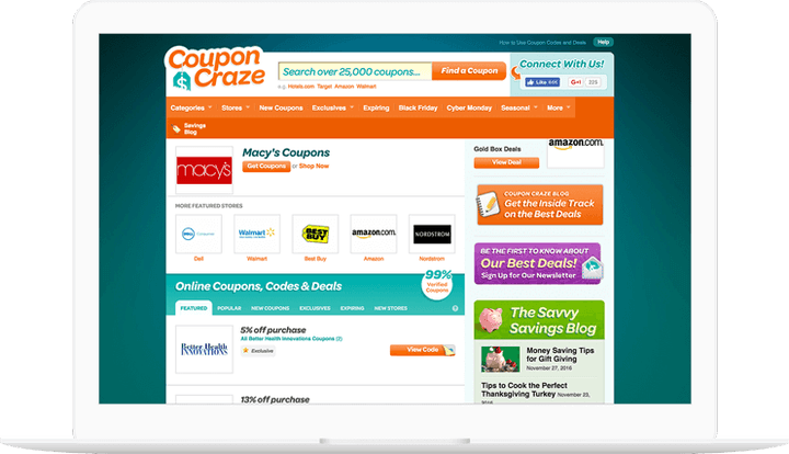 Coupon Craze website displayed on a computer
