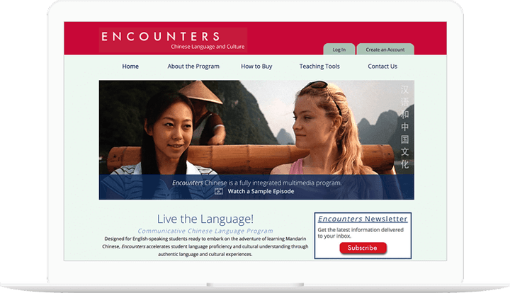 Encounters Chinese website displayed on a computer