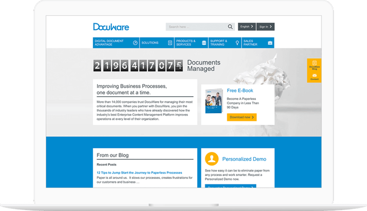 Docuware website displayed on a computer