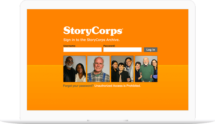 StoryCorps Archive site displayed in a laptop