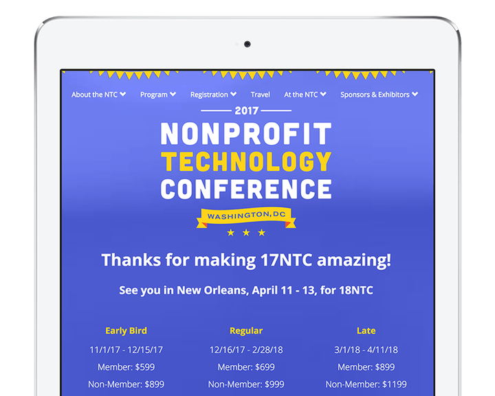 Tablet shows the NTC-17 homepage, which consists of a logo and type over a blue background.