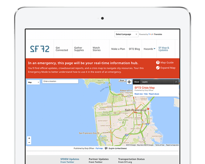 Computer tablet displaying the sf72.org website. On the website a map and a red alert can be seen.