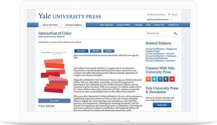 Laptop displaying Yale University Press Course Resources webpage