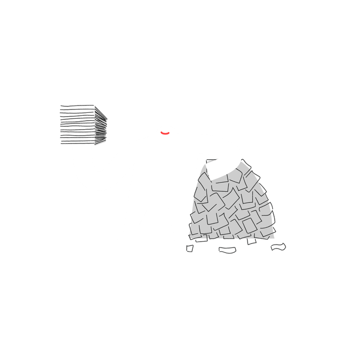 Yeti holding an organized pile of paper, leaning on a messy pile of paper.
