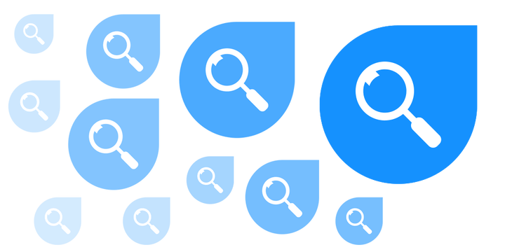 Finder icons with magnifying glass on blue location tip